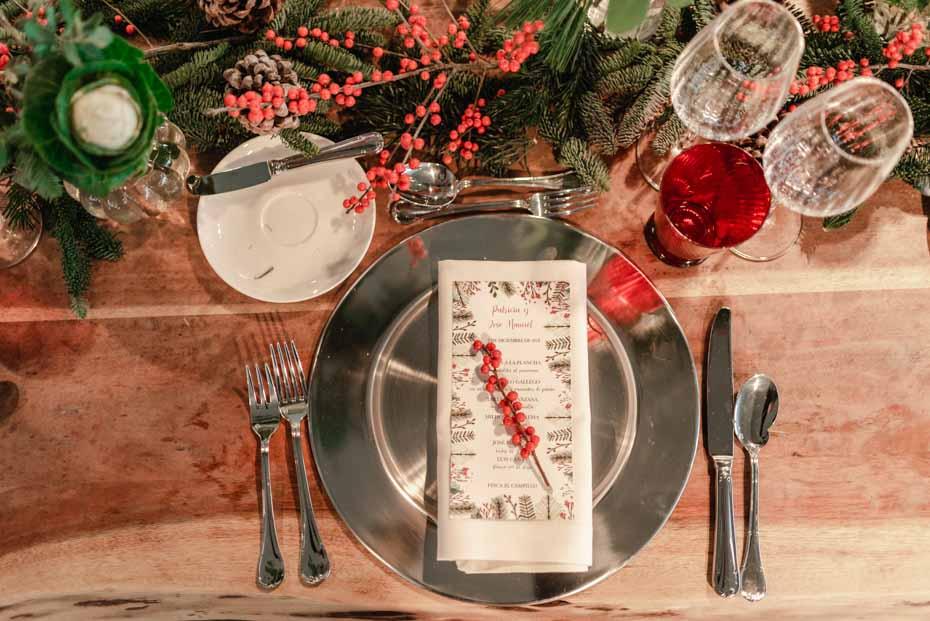 Decoración mesas boda de invierno